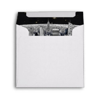 Etched NYC Skyline 2 Black Gold Star Fancy Env 4 Envelope