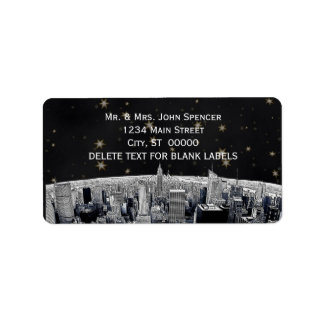 Etched NYC Skyline 2 Black Gold Star H Address Label