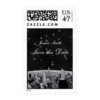 Etched NYC Skyline 2 Black Gold Star Save the Date Postage Stamp