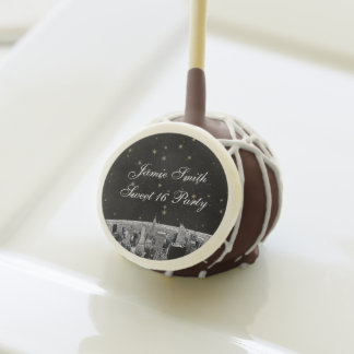 Etched NYC Skyline 2 Black Gold Star Sweet 16 Cake Pops
