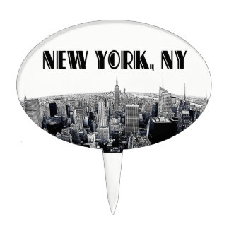 Etched NYC Skyline #2 Black White Cake Cake Topper