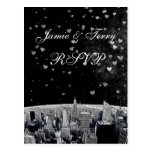 Etched NYC Skyline #2 Black White Heart RSVP 1 Postcards