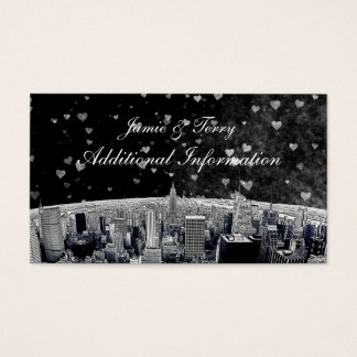 Etched NYC Skyline #2 Black Wht Heart Insert Card