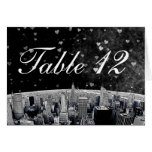 Etched NYC Skyline #2 Black Wht Heart Table Number Greeting Card