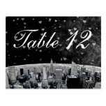 Etched NYC Skyline #2 Black Wht Heart Table Number Postcard