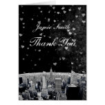 Etched NYC Skyline #2 Black Wht Heart Thank You Stationery Note Card