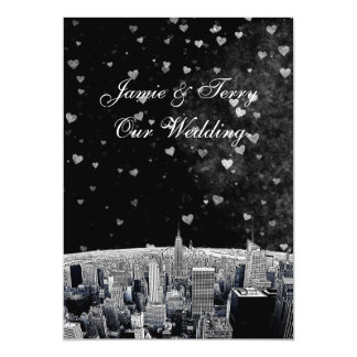 Etched NYC Skyline #2 Black Wht Heart Wedding 5x7 Paper Invitation Card