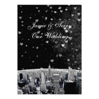 Etched NYC Skyline #2 Black Wht Heart Wedding Invite