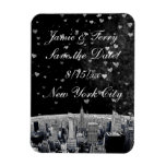 Etched NYC Skyline #2 Black Wt Heart Save the Date Magnets