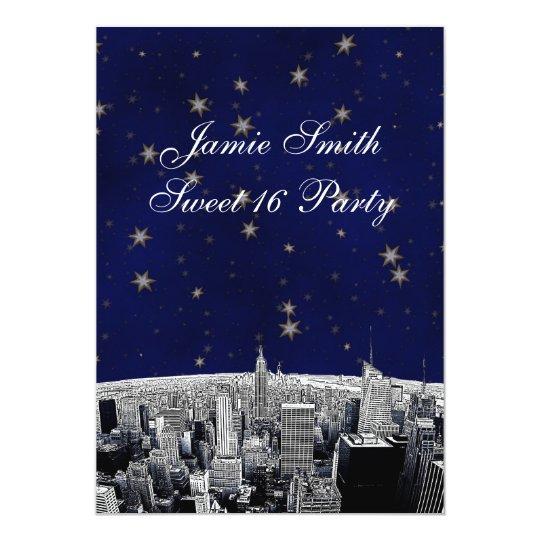 Etched NYC Skyline 2 Blue Gold Star Sweet 16 V Card