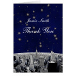 Etched NYC Skyline 2 Blue Gold Star Thank You Cards