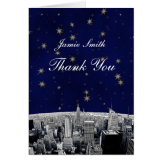 Etched NYC Skyline 2 Blue Gold Star Thank You Stationery Note Card