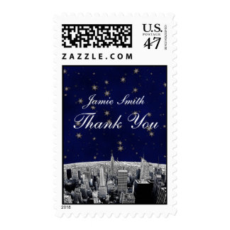Etched NYC Skyline 2 Blue Gold Star Thank You Postage Stamp