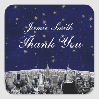 Etched NYC Skyline 2 Blue Gold Star Thank You Square Sticker