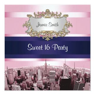 Etched NYC Skyline 2 Pink, Blue Rbn Sweet 16 Party 5.25x5.25 Square Paper Invitation Card