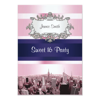 Etched NYC Skyline 2 Pink, Blue Ribbon Sweet 16 5x7 Paper Invitation Card