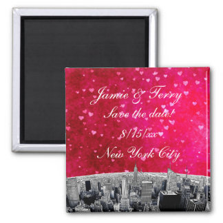 Etched NYC Skyline #2 Pink Red Heart Save the Date Magnet