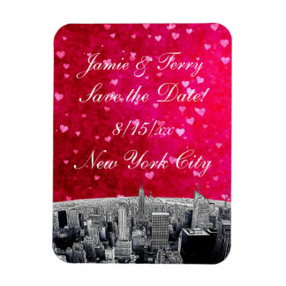 Etched NYC Skyline #2 Pink Red Heart Save the Date Flexible Magnets