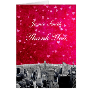 Etched NYC Skyline #2 Pink Red Heart Thank You Stationery Note Card