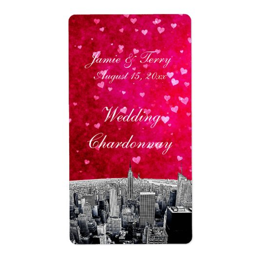 Etched NYC Skyline #2 Pink Red Heart Wine Label