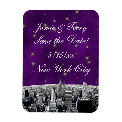 Etched NYC Skyline 2 Purple Gold Star Save Date Vinyl Magnets