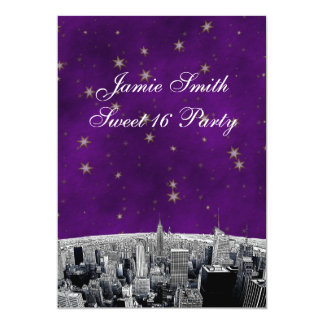 Etched NYC Skyline 2 Purple Gold Star Sweet 16 V Card