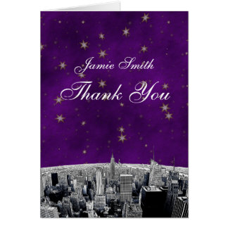 Etched NYC Skyline 2 Purple Gold Star Thank You Stationery Note Card