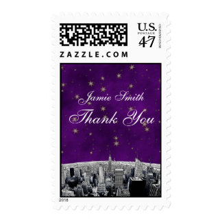 Etched NYC Skyline 2 Purple Gold Star Thank You Postage
