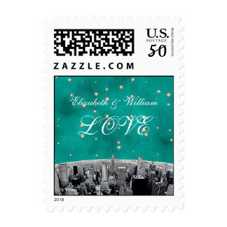 Etched NYC Skyline 2 Teal Gold Star LOVE Stamp