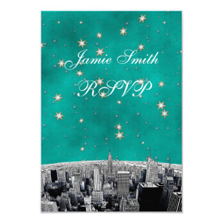 Etched NYC Skyline 2 Teal Gold Star RSVP w Menu Card