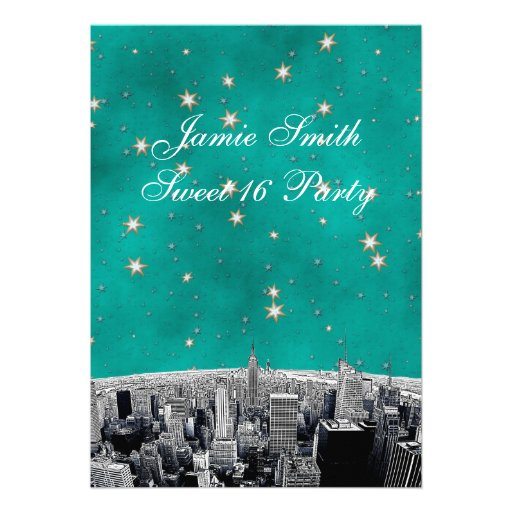 Etched NYC Skyline 2 Teal Gold Star Sweet 16 V Cards