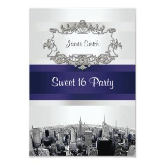 Etched NYC Skyline 2 White, Blue Ribbon Sweet 16 Custom Invitation