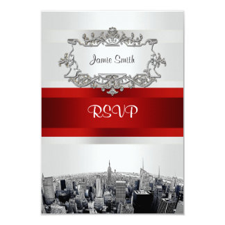 Etched NYC Skyline 2 White, Red Ribbon RSVP 3.5x5 Paper Invitation Card
