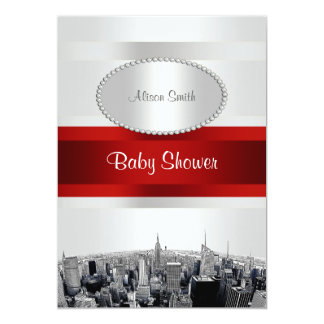 Etched NYC Skyline 2P White BG Red Rbn Baby Shower 5x7 Paper Invitation Card