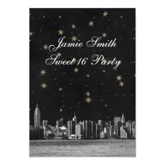 Etched NYC Skyline #3 Black Gold Star Sweet 16 V Card