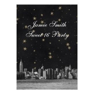 Etched NYC Skyline #3 Black Gold Star Sweet 16 V Custom Invite