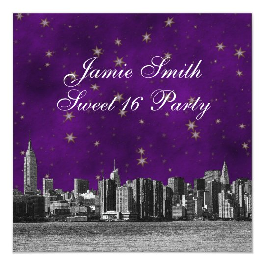 Etched NYC Skyline #3 Purple Gold Star Sweet 16 Card