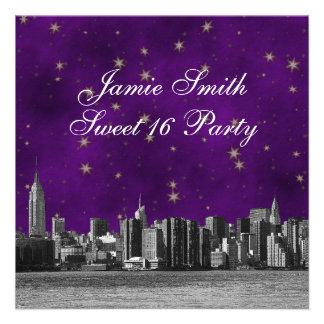 Etched NYC Skyline #3 Purple Gold Star Sweet 16 Personalized Invites