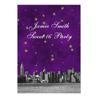 Etched NYC Skyline #3 Purple Gold Star Sweet 16 V Card