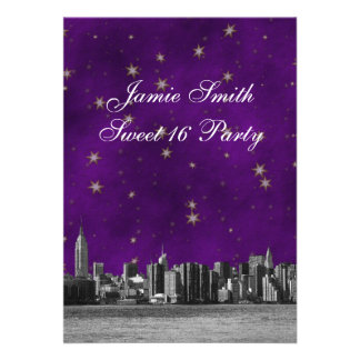 Etched NYC Skyline #3 Purple Gold Star Sweet 16 V Personalized Announcement