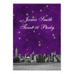 "Etched NYC Skyline #3 Purple Gold Star Sweet 16 V 5"" X 7"" Invitation Card"