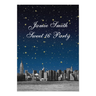Etched NYC Skyline #3 Starry Blu Sunset Sweet 16 V Card