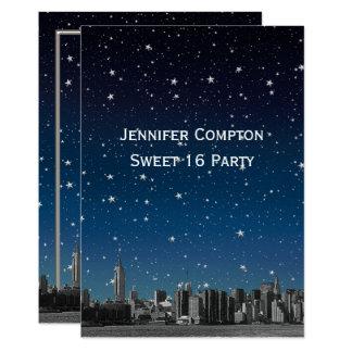 Etched NYC Skyline #3V2 Starry Blu Sunset Sweet 16 Card