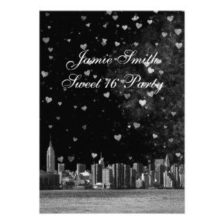 Etched NYC Skyline Black BG White Heart Sweet 16 V Card