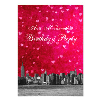 Etched NYC Skyline Hot Pink Red Heart Birthday V Announcement
