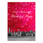 "Etched NYC Skyline Hot Pink Red Heart Birthday V 5"" X 7"" Invitation Card"