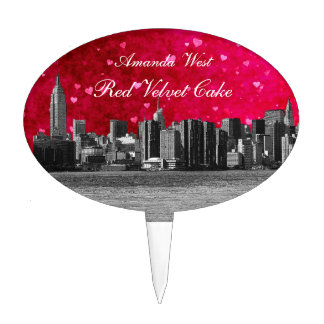 Etched NYC Skyline Hot Pink Red Heart Cake Topper