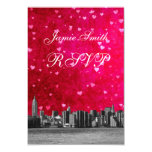 "Etched NYC Skyline Hot Pink Red Heart RSVP w Menu 3.5"" X 5"" Invitation Card"
