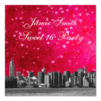 Etched NYC Skyline Hot Pink Red Heart Sweet 16 5.25x5.25 Square Paper Invitation Card