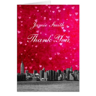 Etched NYC Skyline Hot Pink Red Heart Thank You Stationery Note Card